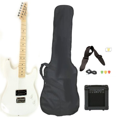 White Full Size Electric Guitar with Amp Case Strap Cord Picks Pack Beginner Starter Package
