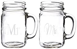 Cathys Concepts Mr. and Mrs. Old Fashioned Drinking Jar Set, Clear