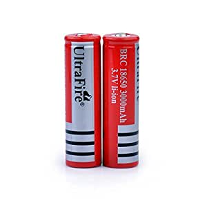 Alldaymall®3.7V 3000mAh 18650 BRC Protected Rechargeable Lithium Battery 2Pcs