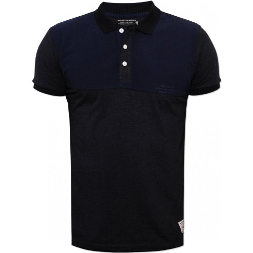 Jack and Jones Mens Navy Proud Polo Shirt White Buttons Rubber Chest Logo Navy Small