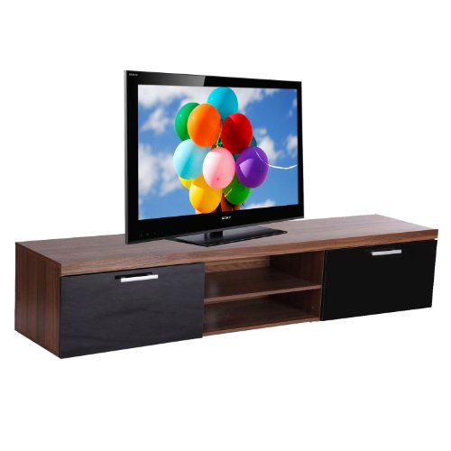 2 Meter Long 2 Door Modern TV Cabinet Low Bench Stand Walnut & Black Black Friday & Cyber Monday 2014