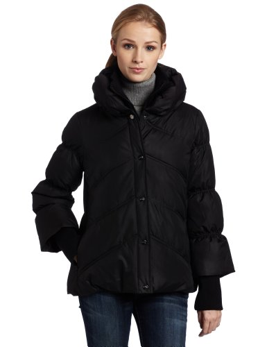 Steve Madden Women's Pillow Collar Jacket, Black, Medium