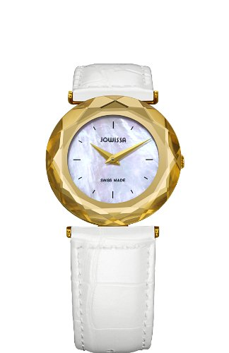 Jowissa Safira 99 Women's Quartz Watch with Mother of Pearl Dial Analogue Display and White Leather Strap J1.003.M