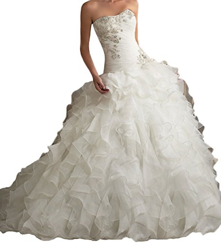 PHSOAR Women's Organza Sweetheart Neckline Cascading Ruched Wedding Dress White 14