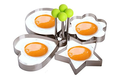 4 - Shape Fried Egg Mold Non Stick Stainless Steel Omelette Pancake Rings Cooking Tools (Heart, Star, Round, Flower) (Poached Egg Shape compare prices)