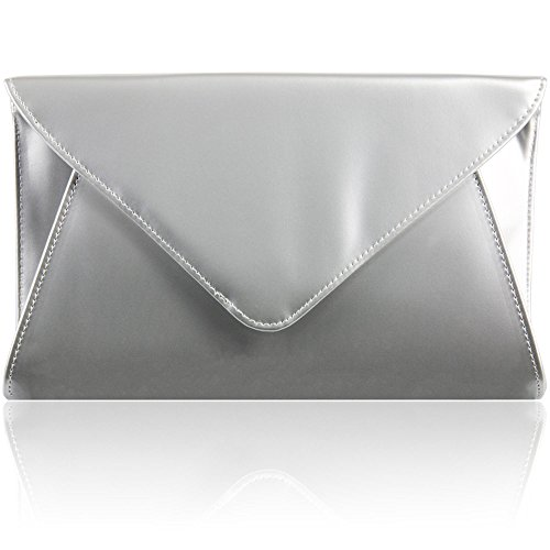 Zarla Patent Ladies Flat Clutch Bridal Party Envelope Designer Women Evening Bags UK