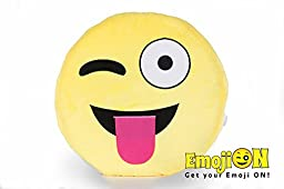 Stuffed Plush Emoji Pillow by EmojiON - Round Smiley Emoticon Pillow - Ultra Soft Plush Toy - Cute Bed Pillow, Fun Chair Cushion - Fluffy, Extra Large Pillow - Winking - 14 inch (35cm)