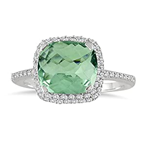 3.50 Carat Cushion Cut Green Amethyst and Diamond Halo Ring in 10K White Gold