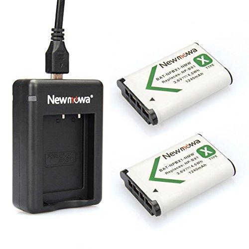Newmowa NP-BX1 Batteria (confezione da 2) e Doppio Caricatore Rapido per Sony NP-BX1, NP-BX1/M8 e Sony Cyber-shot DSC-HX50V, DSC-HX300, DSC-HX400,DSC-RX1, DSC-RX1R, DSC-RX100, DSC-RX100 II, DSC-RX100M II, DSC-WX300, HDR-AS10, HDR-AS15, HDR-AS30V, HDR-AS100V, HDR-AS100VR, HDR-CX240, HDR-MV1, HDR-PJ275 (Dual Charger + 2 NP-BX1 Batteries)