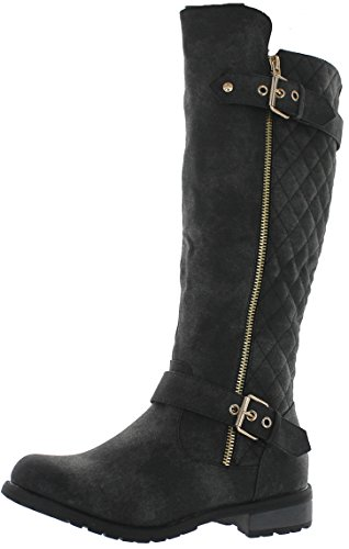 Forever-Link-Womens-Mango-21-Quilted-Zipper-Accent-Riding-Boots