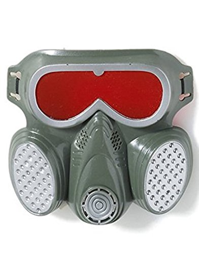 Adult Biohazard Zombie Grey Red Halloween Costume Gas Mask Gasmask