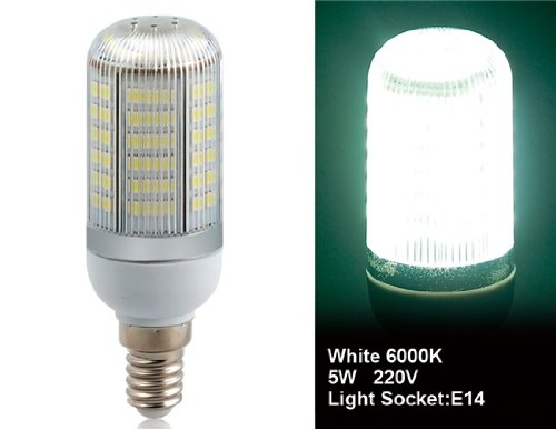 Wrui3528-80L-220V 3.5W E14 80 X 3528Smd White Led Corn Bulb With Cover