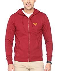 Campus Sutra Maroon Zipped Men Hooded Sweatshirt with Applique