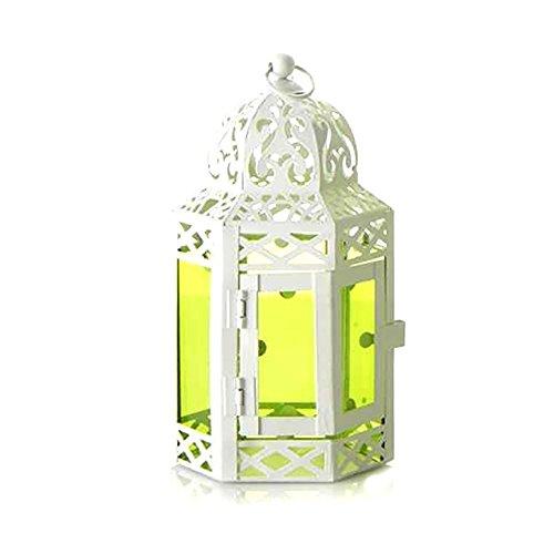 Farol hexagonal metal lacado blanco y cristal verde (33x14.5)