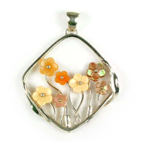 Unique Shell Red Aventurine Flower jewelry 925 Sterling Silver Necklace Pendant - Black Friday Specials 2012 - Cyber Monday