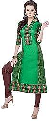VM Trendz Women's Chanderi Cotton Semi-Stitched Salwar Suit (VMT-JL37, Brown & Peacock Green)