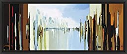 47in x 20in Urban Abstract No.242 by Gregory Lang - Black Floater Framed Canvas w/ BRUSHSTROKES