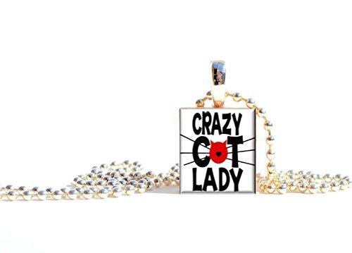 "Pendants By Prestarri Handmade ""Crazy Cat Lady"" Wooden Game Piece Tile Charm Necklace Pendant"