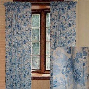 jcpenney floral blue curtain set 84l window