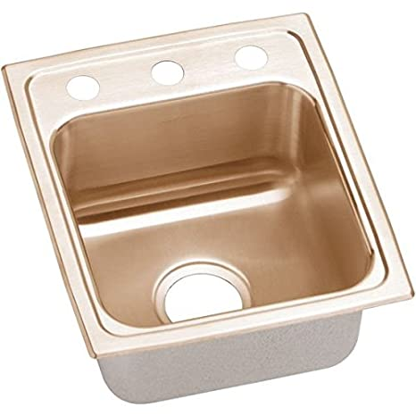 Elkao|#Elkay LRAD1316603-CU 18 Gauge Cuverro Antimicrobial copper 13 Inch x 16 Inch x 6 Inch single Bowl Top Mount Sink 3 Hole,