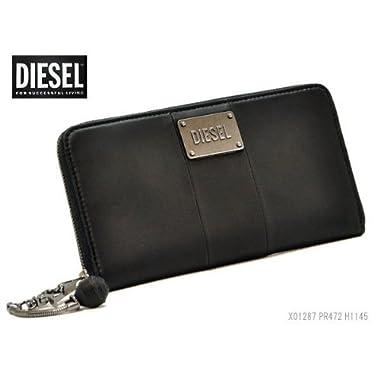 DIESEL 財布 ディーゼル 長財布 本革 BLACK ユニセックス ブラック ラウンドファスナー GRANATO X01287 PR472 H1145
