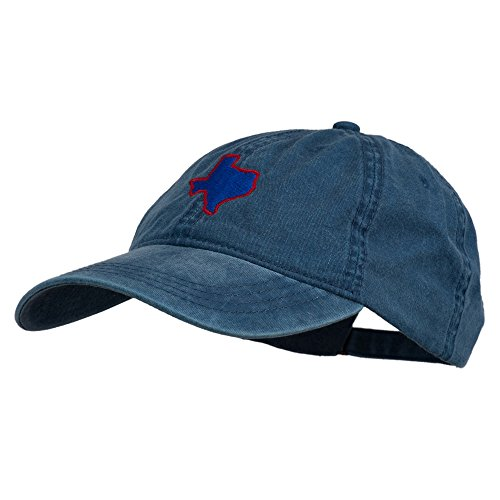 Texas State Map Embroidered Washed Cotton Cap - Navy Osfm