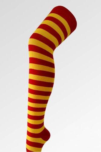 Colore: a righe, colore: giallo-Calze sopra il ginocchio, taglia: 36-39