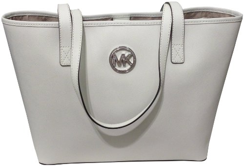 64ff81c02fb3a3 The Features Michael Kors Jet Set MD Travel Jewel Tote Optic White Saffiano  Leather -