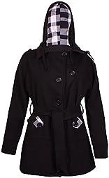 PurpleHanger Women\'s Toggle Belt Hooded Jacket Coat Plus Size Black 12