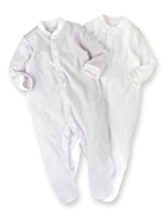 2 Pack Cotton Rich Towelling Sleepsuits