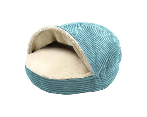 Precious Tails Turquoise Corduroy Round Cave Hamburger Pet Bed with Sherpa Interior & Plush Fur Interior 25""