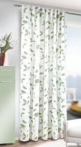 albani double rideau tamisant jonny 262245 blanc motifs vert amande pr t poser finition. Black Bedroom Furniture Sets. Home Design Ideas