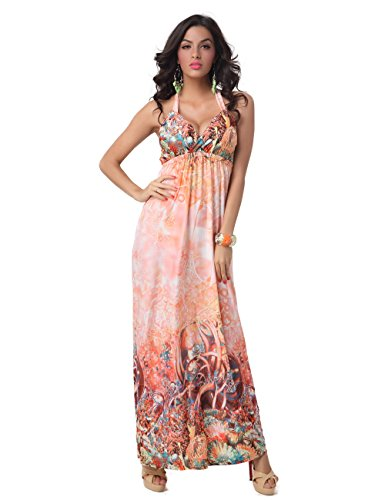 Charmy Women's V Neck Backless Bold Floral Printed Long Halterneck Bustier Dress