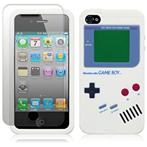 IPHONE 4 / IPHONE 4S WHITE GAMEBOY STYLE SILICONE CASE / COVER / SHELL / SKIN + SCREEN PROTECTOR PART OF THE QUBITS ACCESSORIES RANGE