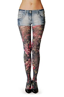 Viva Skull - Multicolored Tattoo Pantyhose (Tights)