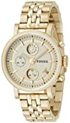 Fossil Unisex ES2197 Chronograph Gold Tone Watch