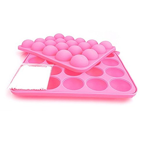 Tinksky 20-Hole Lollipop Shaped Soft Silicone Diy Chocolate Ice Candy Cake Jelly Baking Mould Mold Tray Set (Pink)