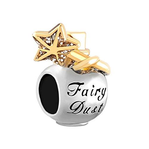 Golden Star Fairy Dust Bottle Lucky Bead Fits Pandora Charms Bracelet