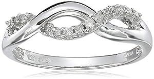 10k White Gold Diamond Infinity Twist Ring (1/6 cttw, I-J Color, I2-I3 Clarity), Size 7