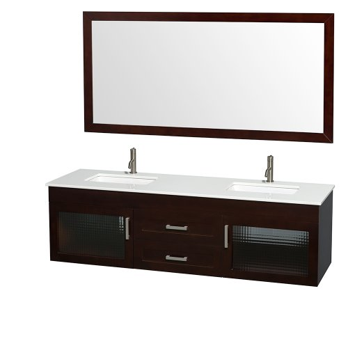 Manola 72 Inch Double Bathroom Vanity In Espresso, White Man-Made Stone Countertop, Undermount Square Sinks, And 70 Inch Mirror