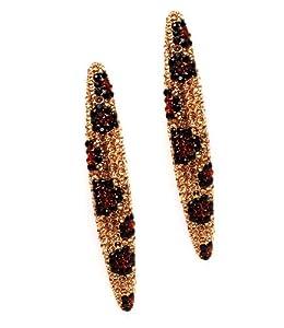 """Leopard Style Topaz Clear & Black Swarovski Rhinestone & Crystal 2 1/2"""" Dangle Earrings by Jersey Bling in gift box"""