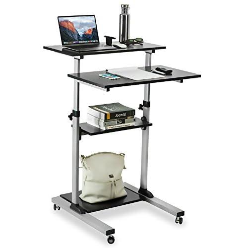 Mount-It! Mobile Stand Up Desk / Height Adjustable Computer Work Station Rolling Presentation Cart (MI-7940) (Stand-Up Desk)