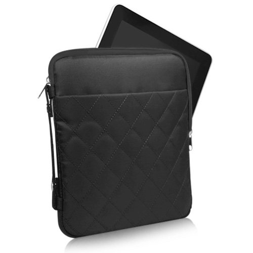 BoxWave Quilted iPad (3rd Generation) Carrying Bag, Durable Nylon Quilt Stitching iPad3 Padded Carrying Sleeve Case for The new iPad 3 - Covers and Cases (Jet Black)