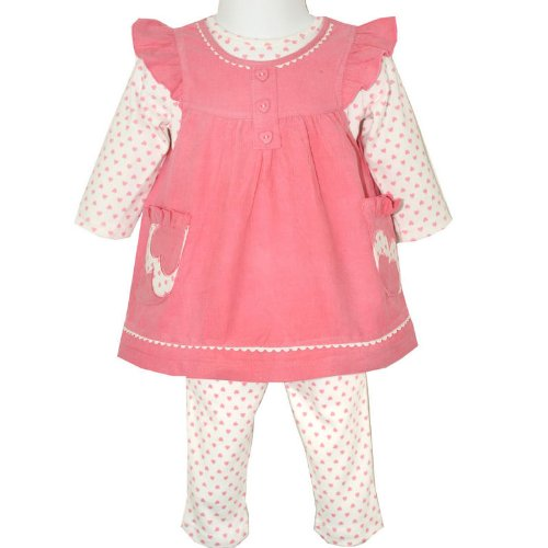 Baby Girls Three Piece Outfit Pink Corduroy Pinafore Dress, Long Sleeved Top & Leggings with Pink Hearts Pattern (6-12 Months)
