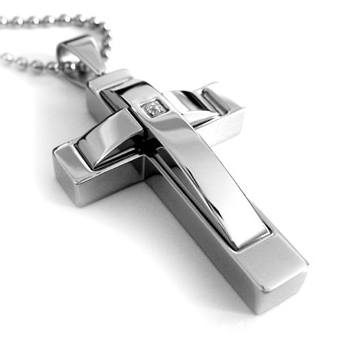 Top Value Jewelry - Stainless Steel Mens Cross Pendant With Stone, High Polish, High End Necklace, Free Ball Chain