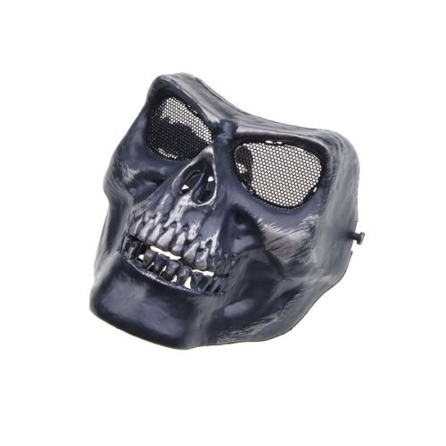Black Death Skull Bone Army Airsoft Paintball Full Face Game Protect Mask for Airsoft Hunting Wargame and All Military Purpose