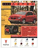 2002 PONTIAC AZTEK FWD & AWD COLOR SALES CARD BROCHURE - ©2002 - USA - EXCELLENT !