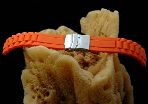 ORANGE 22mm MODENA President / Submariner Style Italian Rubber Watch Band w/ Deployant / Deployment Buckle / Clasp