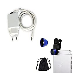 High Quality Mobile Charger for CP Spice Smart Flo Edge Mi 349 1 Amp + USB FAN + Mobile Camera Lens