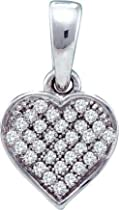 0.10ctw Diamond Heart Pendant 10K White Gold 32 Diamonds
